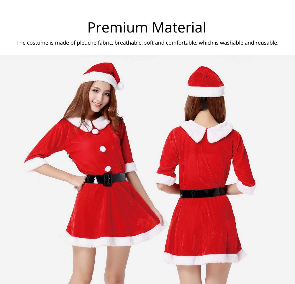 Women Christmas Costume, Lovely Luxurious Pleuche Girls Costome Dress with Christmas Cap & Waistband for Christmas Party Cosplay Party Family Gathering 8