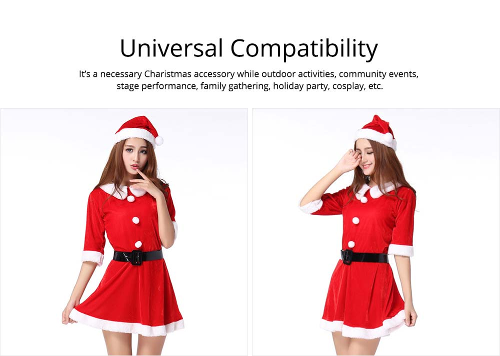 Women Christmas Costume, Lovely Luxurious Pleuche Girls Costome Dress with Christmas Cap & Waistband for Christmas Party Cosplay Party Family Gathering 12