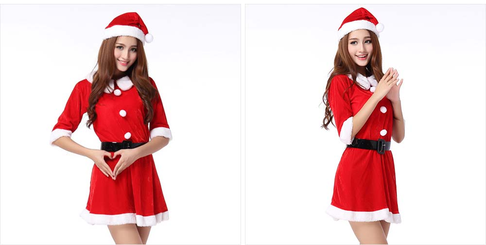 Women Christmas Costume, Lovely Luxurious Pleuche Girls Costome Dress with Christmas Cap & Waistband for Christmas Party Cosplay Party Family Gathering 13