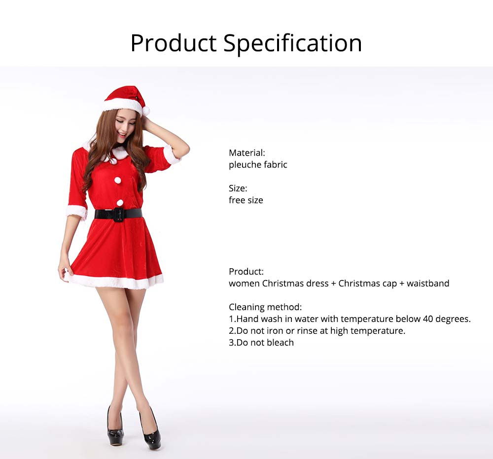 Women Christmas Costume, Lovely Luxurious Pleuche Girls Costome Dress with Christmas Cap & Waistband for Christmas Party Cosplay Party Family Gathering 14