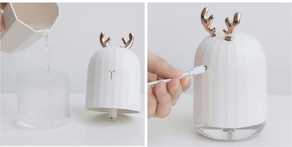 Mini Desk Humidifier, Ultrasonic USB Humidifier Essential Oil Diffuser Aromatherapy Household Rabbit Deer Design 16