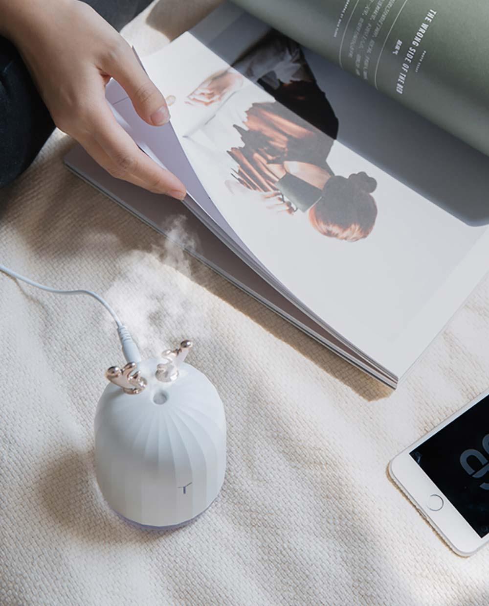 Mini Desk Humidifier, Ultrasonic USB Humidifier Essential Oil Diffuser Aromatherapy Household Rabbit Deer Design 21