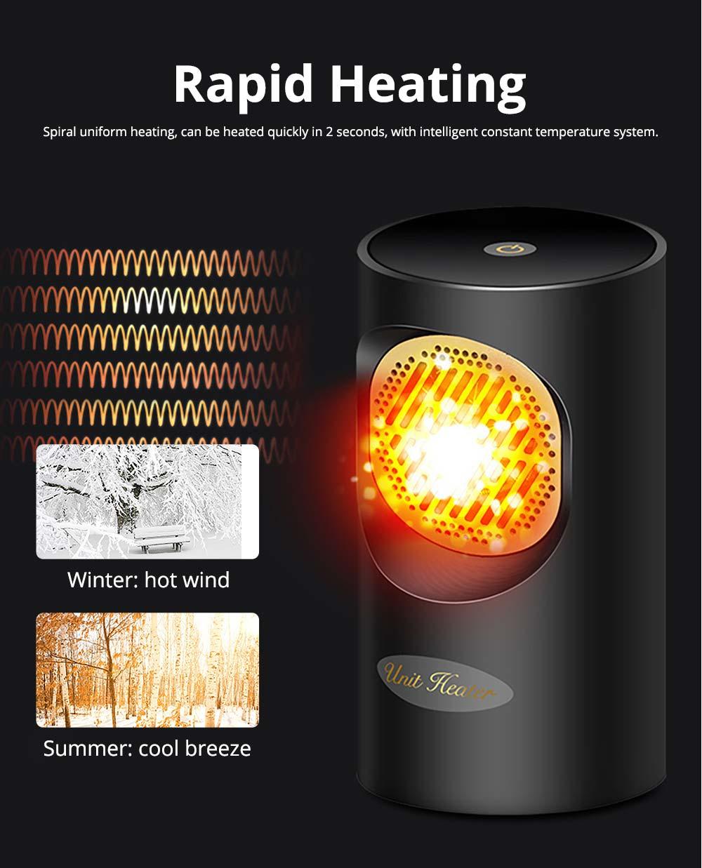 Fan Heater for Office Bedroom, Mini Furnace Portable Electric Space Heater Air Radiator Warmer 300W-400W 7