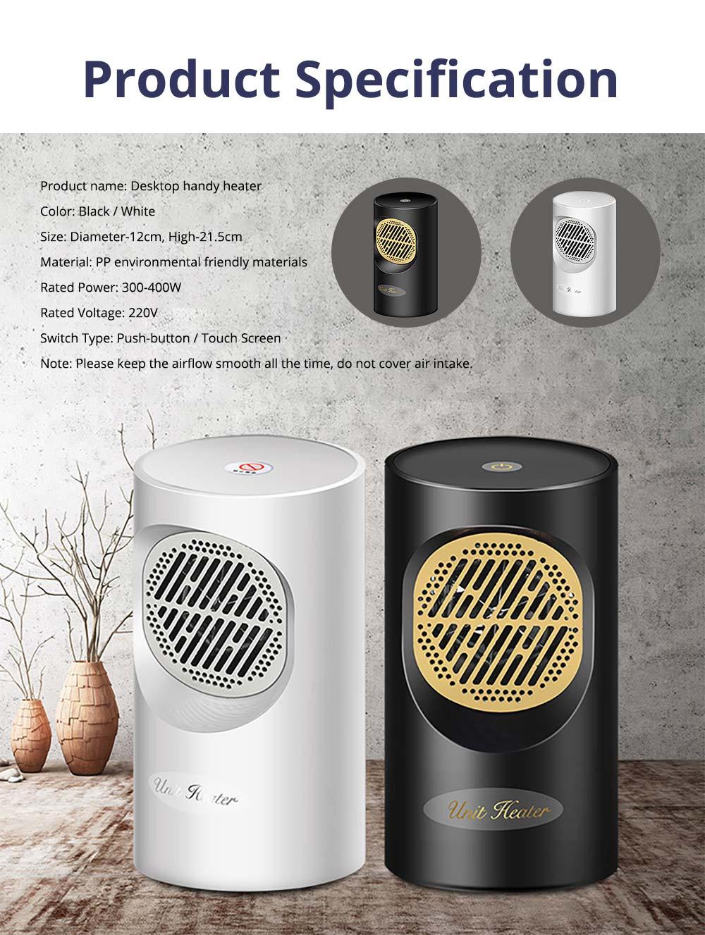Fan Heater for Office Bedroom, Mini Furnace Portable Electric Space Heater Air Radiator Warmer 300W-400W 15