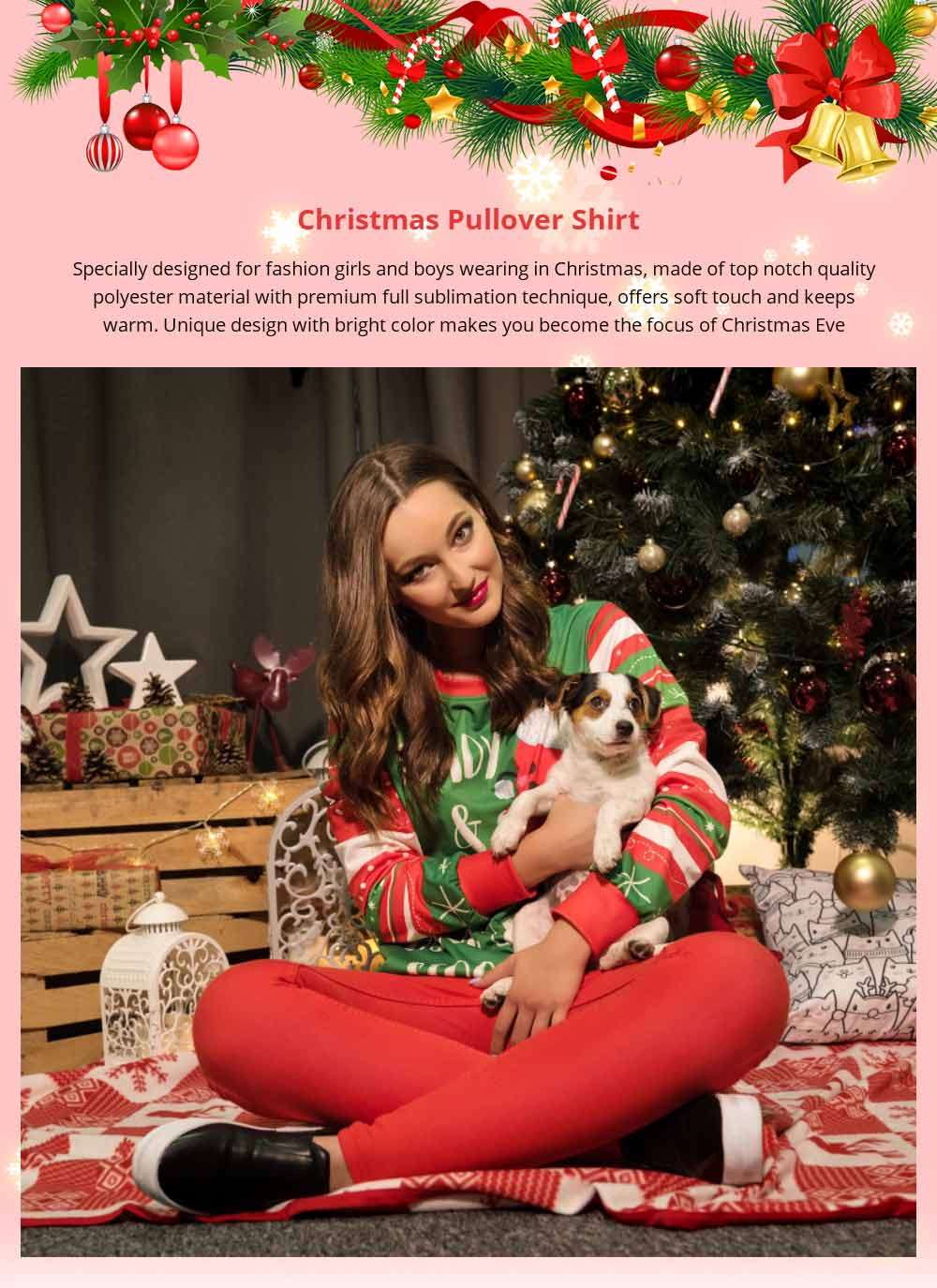 Unisex Christmas Pullover Shirt Polyester Full Sublimation Christmas Long Sleeve Shirt, Non-fading Warm Christmas Sweater Tops 6