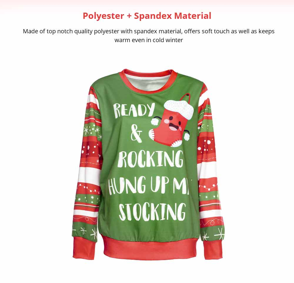 Unisex Christmas Pullover Shirt Polyester Full Sublimation Christmas Long Sleeve Shirt, Non-fading Warm Christmas Sweater Tops 7