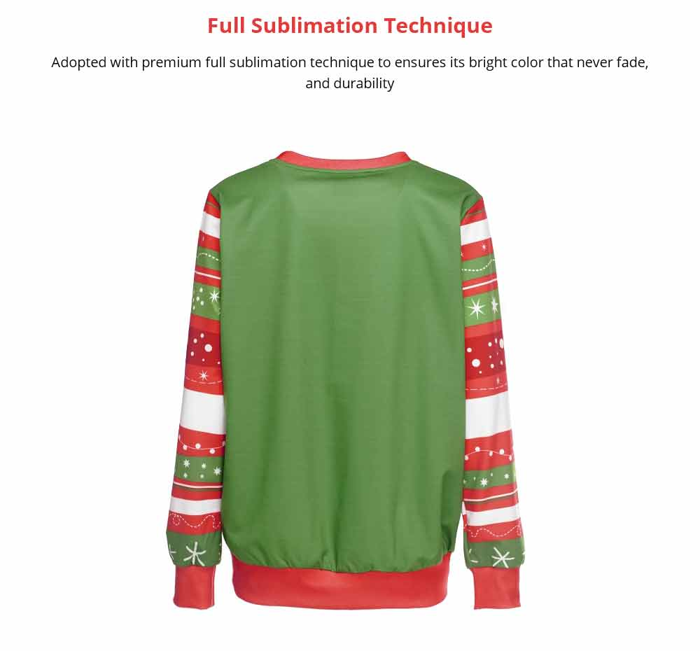 Unisex Christmas Pullover Shirt Polyester Full Sublimation Christmas Long Sleeve Shirt, Non-fading Warm Christmas Sweater Tops 8