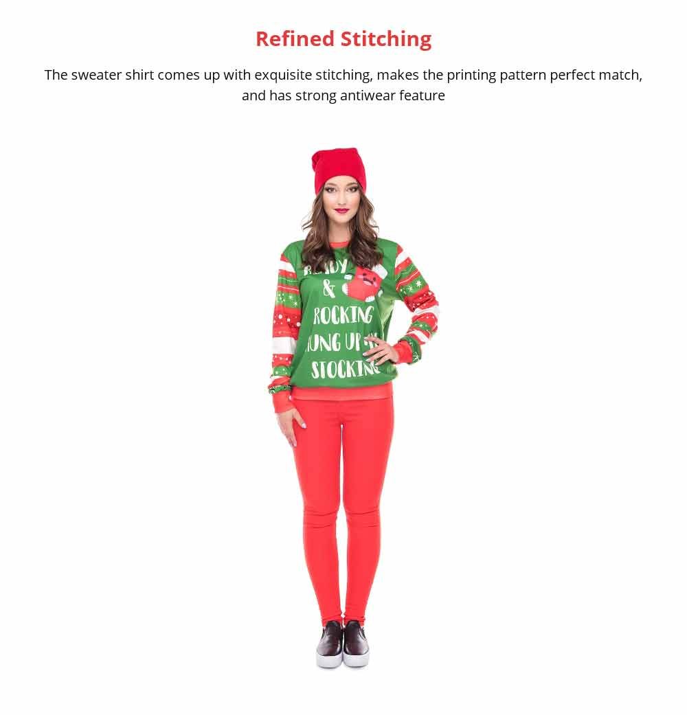 Unisex Christmas Pullover Shirt Polyester Full Sublimation Christmas Long Sleeve Shirt, Non-fading Warm Christmas Sweater Tops 9