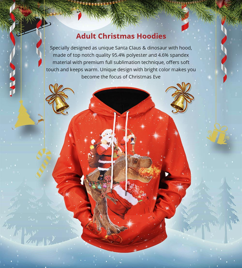 Christmas Hoodies for Adults, No Deform No Pilling Santa Claus Dinosaur Sweater Shirt, Breathable Polyester Christmas Men Pullover Hoody 6