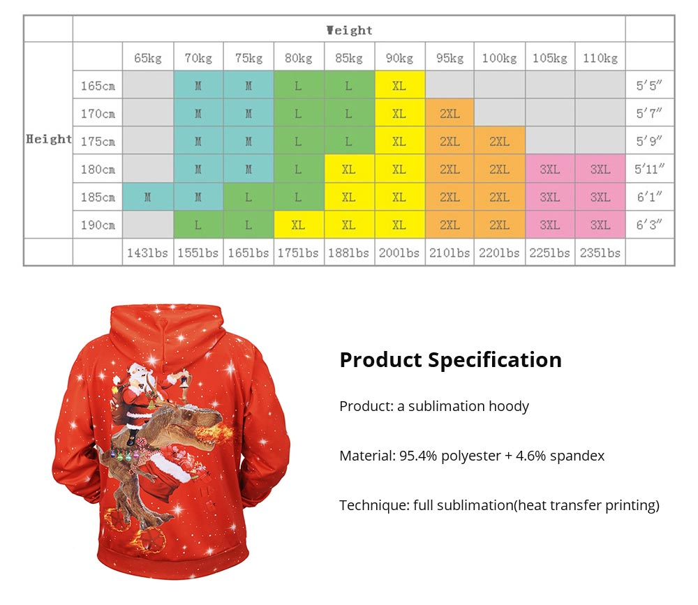 Christmas Hoodies for Adults, No Deform No Pilling Santa Claus Dinosaur Sweater Shirt, Breathable Polyester Christmas Men Pullover Hoody 13