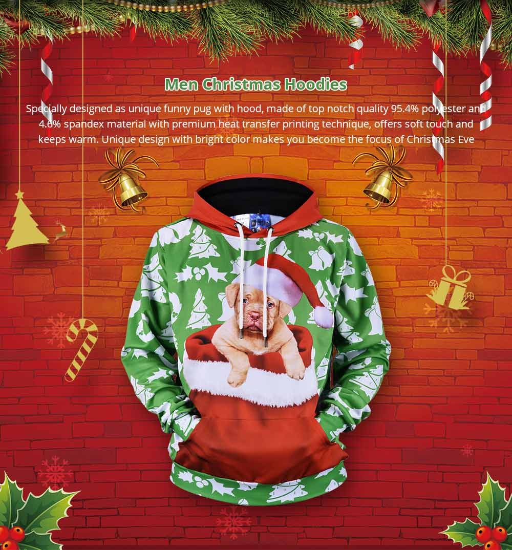 Men's Christmas Hoodies, Sublimation Polyester Funny Pug Christmas Sweater Shirts for Men, Non-fading Warm Dog Hoody 7