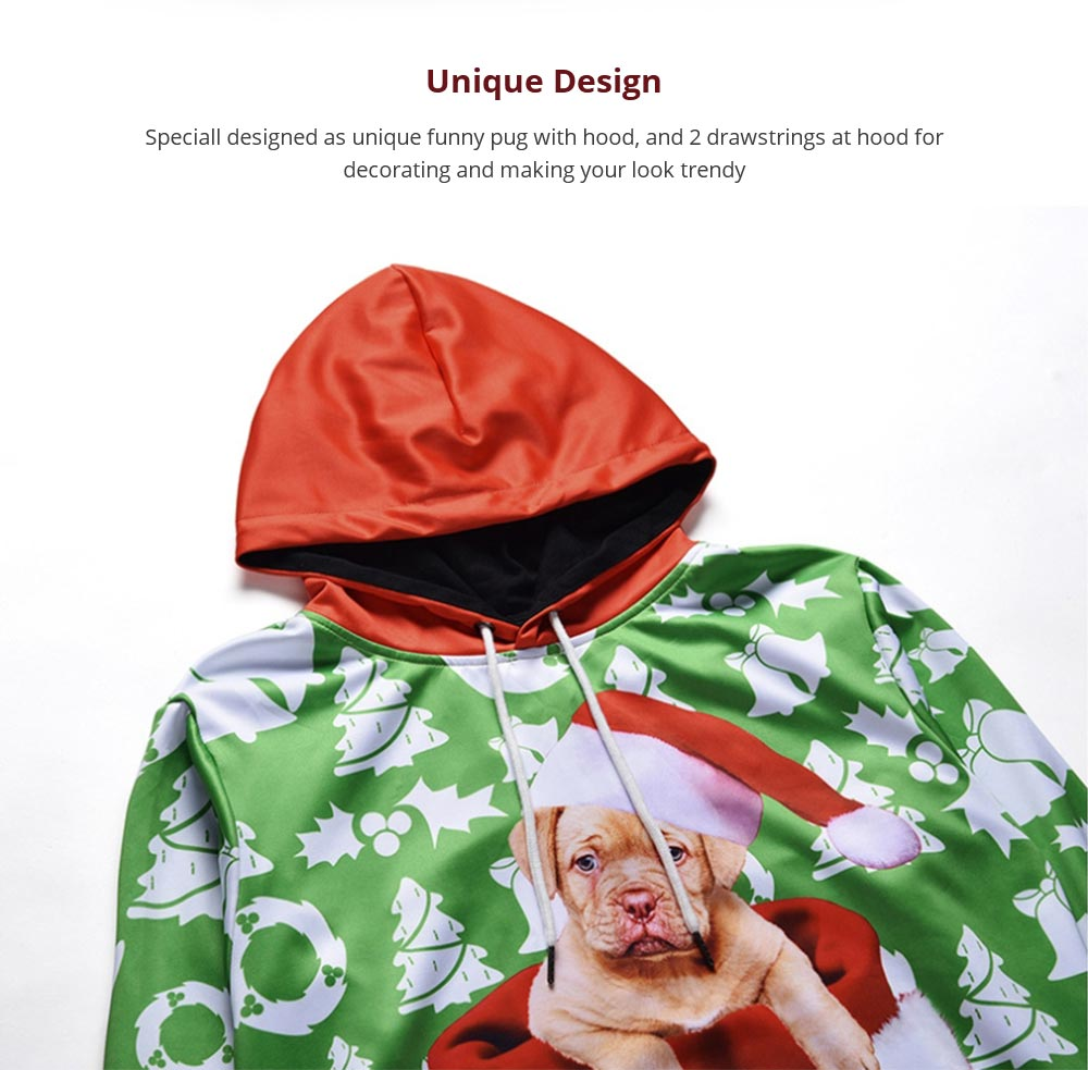 Men's Christmas Hoodies, Sublimation Polyester Funny Pug Christmas Sweater Shirts for Men, Non-fading Warm Dog Hoody 11