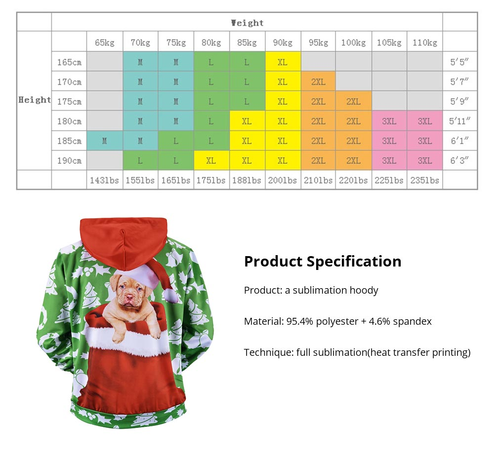 Men's Christmas Hoodies, Sublimation Polyester Funny Pug Christmas Sweater Shirts for Men, Non-fading Warm Dog Hoody 14