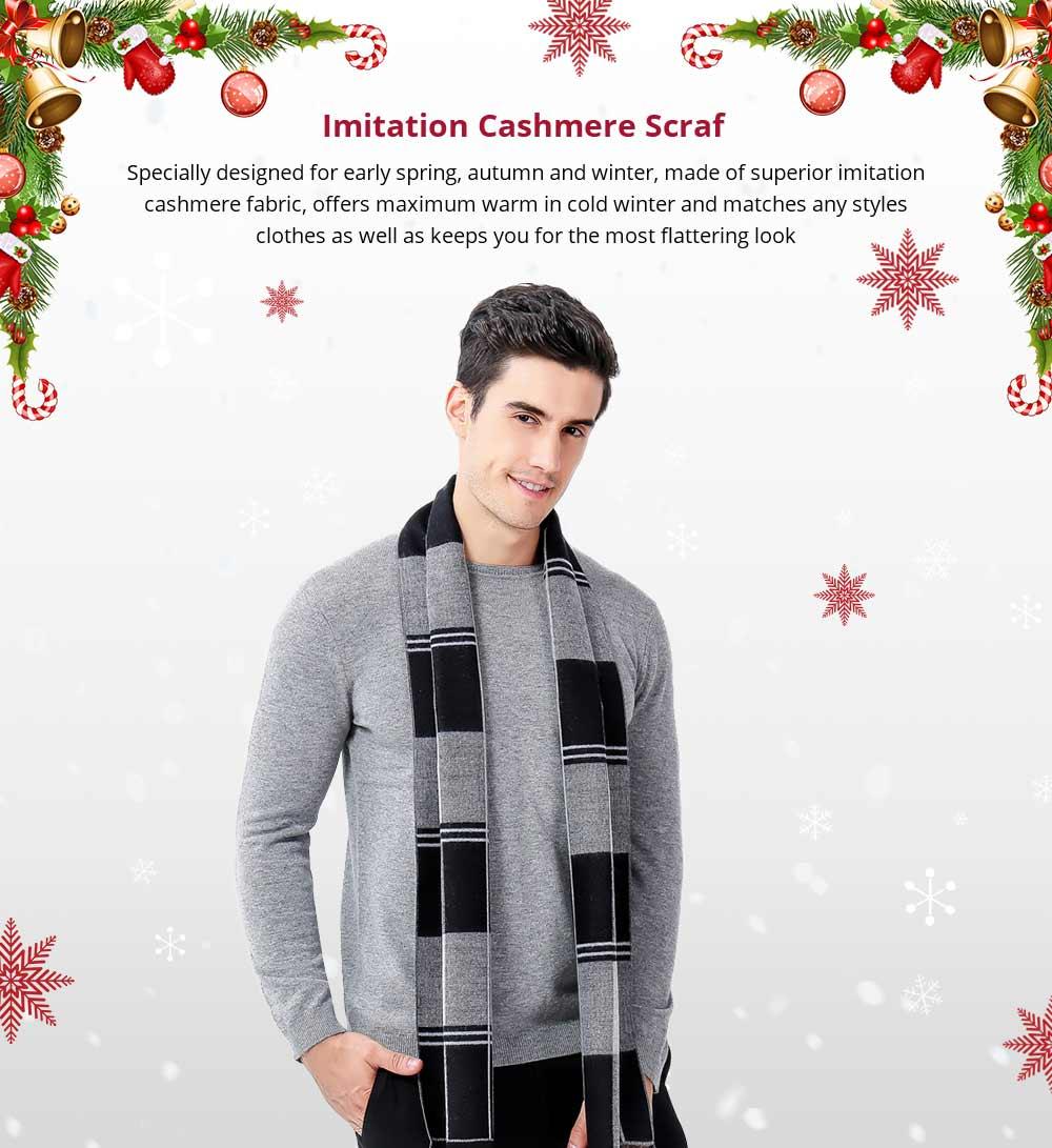 Plaid Men's Scarf, Fashionable Plaid Neckerchief for Business Men, Imitation Cashmere Plaid Scraf  Autumn Winter 2019 7