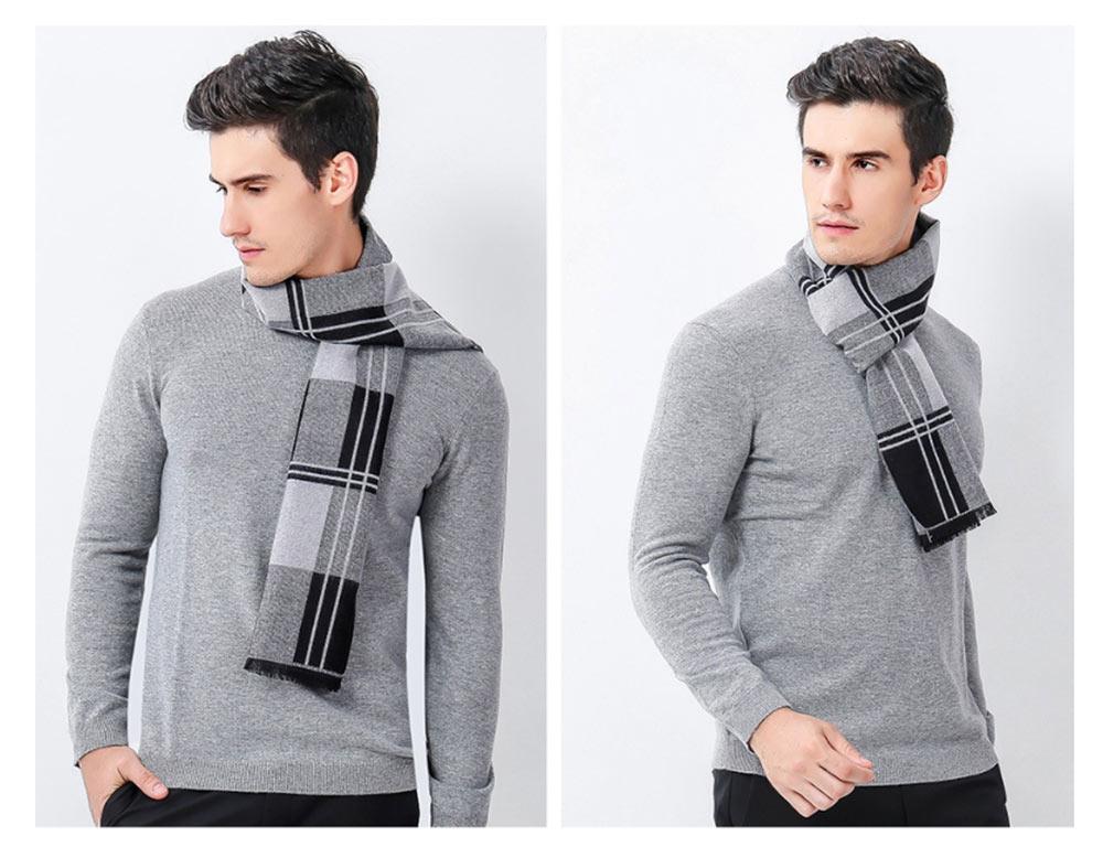 Plaid Men's Scarf, Fashionable Plaid Neckerchief for Business Men, Imitation Cashmere Plaid Scraf  Autumn Winter 2019 13
