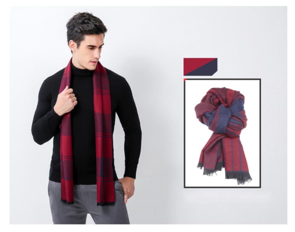 Plaid Men's Scarf, Fashionable Plaid Neckerchief for Business Men, Imitation Cashmere Plaid Scraf  Autumn Winter 2019 14
