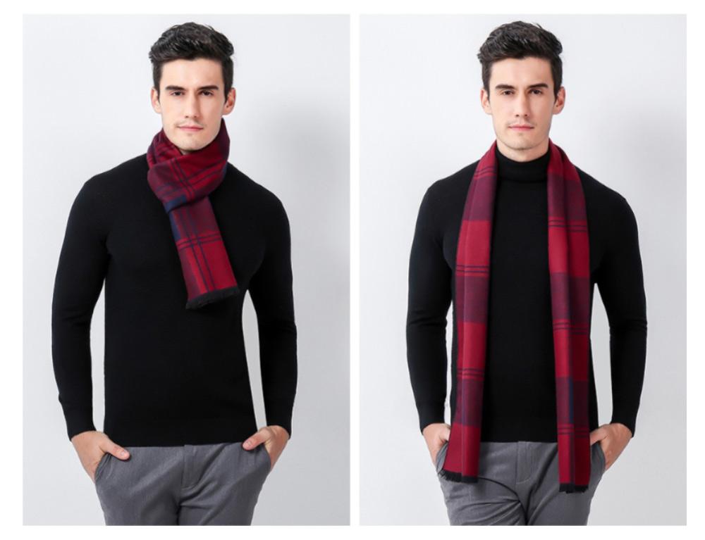 Plaid Men's Scarf, Fashionable Plaid Neckerchief for Business Men, Imitation Cashmere Plaid Scraf  Autumn Winter 2019 15