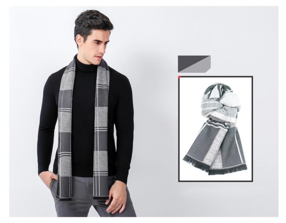 Plaid Men's Scarf, Fashionable Plaid Neckerchief for Business Men, Imitation Cashmere Plaid Scraf  Autumn Winter 2019 16