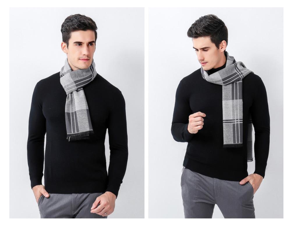Plaid Men's Scarf, Fashionable Plaid Neckerchief for Business Men, Imitation Cashmere Plaid Scraf  Autumn Winter 2019 17