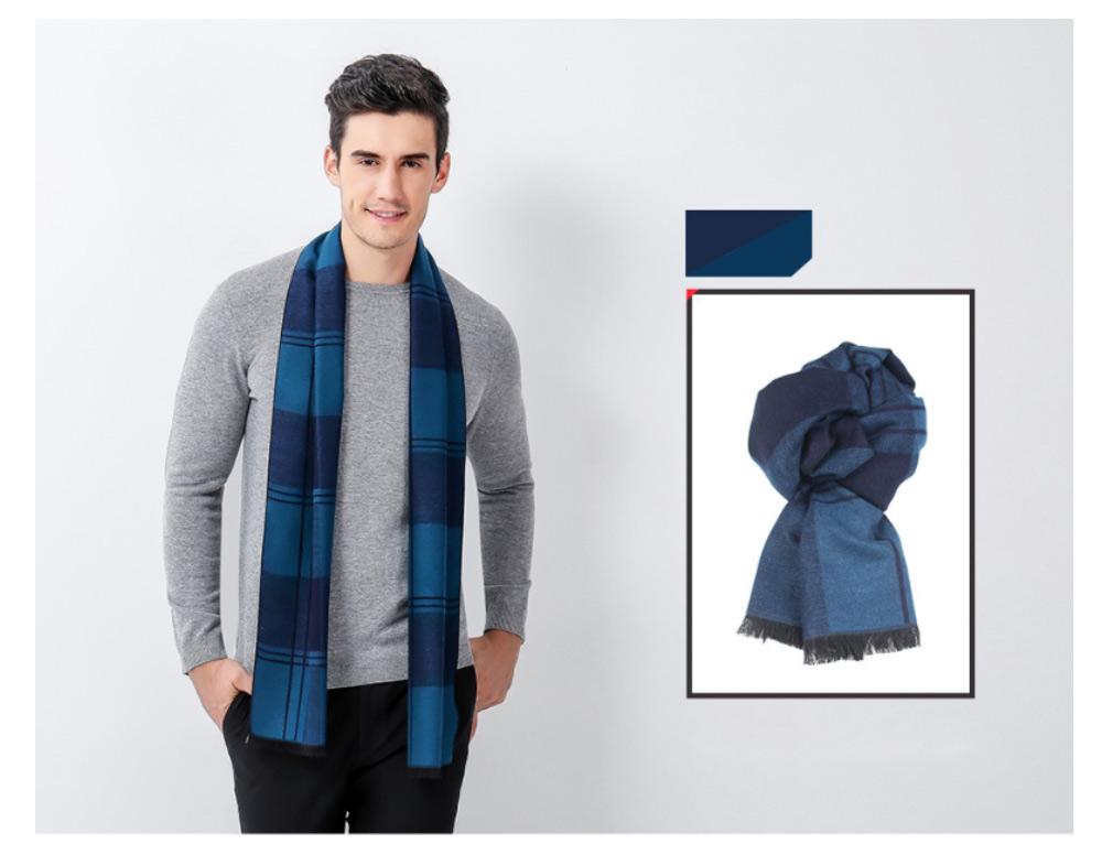 Plaid Men's Scarf, Fashionable Plaid Neckerchief for Business Men, Imitation Cashmere Plaid Scraf  Autumn Winter 2019 18