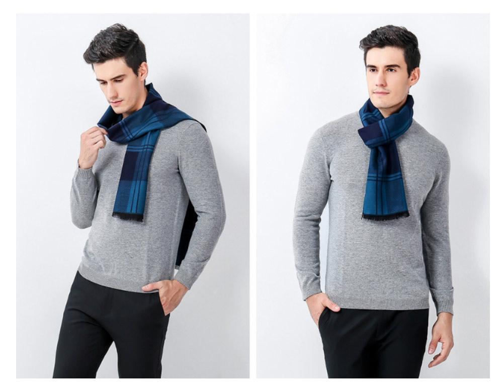 Plaid Men's Scarf, Fashionable Plaid Neckerchief for Business Men, Imitation Cashmere Plaid Scraf  Autumn Winter 2019 19