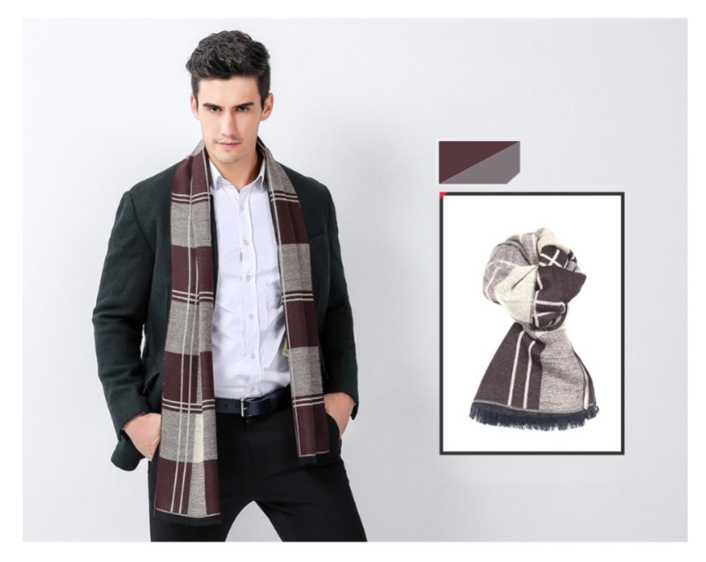 Plaid Men's Scarf, Fashionable Plaid Neckerchief for Business Men, Imitation Cashmere Plaid Scraf  Autumn Winter 2019 20