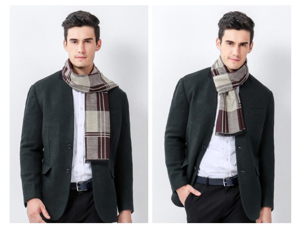 Plaid Men's Scarf, Fashionable Plaid Neckerchief for Business Men, Imitation Cashmere Plaid Scraf  Autumn Winter 2019 21
