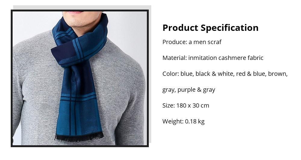 Plaid Men's Scarf, Fashionable Plaid Neckerchief for Business Men, Imitation Cashmere Plaid Scraf  Autumn Winter 2019 22