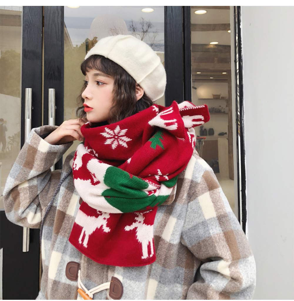 Christmas Scarf with Elk, Christmas Tree, Snowflakes for Girls Women Children, Warm Knit Christmas Scarves for Christmas, Birthday, Ceremony 11