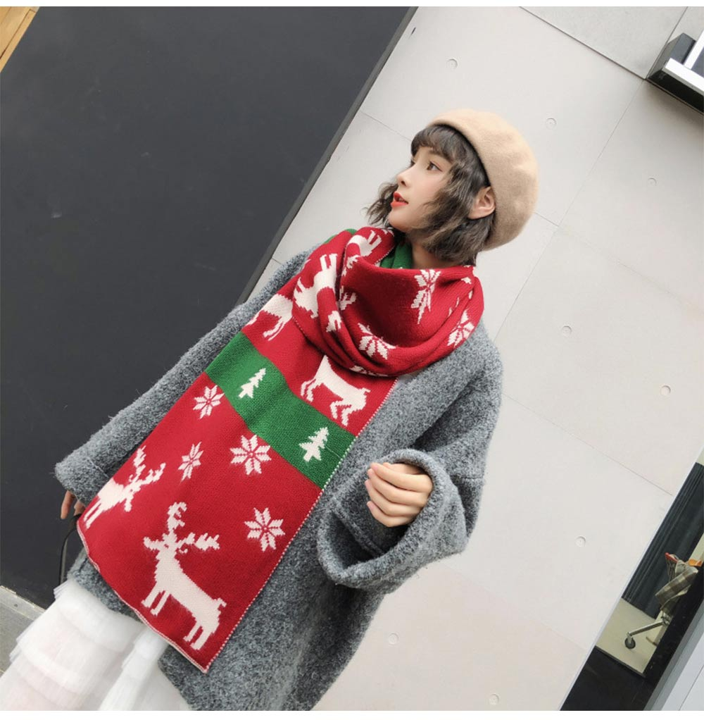 Christmas Scarf with Elk, Christmas Tree, Snowflakes for Girls Women Children, Warm Knit Christmas Scarves for Christmas, Birthday, Ceremony 13