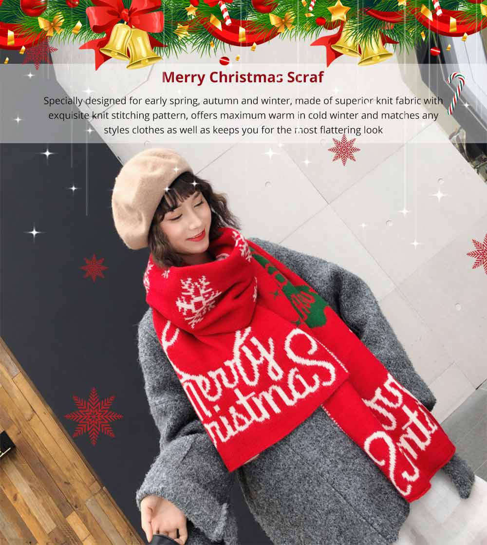 2019 Christmas Scarf for Early Spring, Autumn, Winter, Perfect Christmas Gift Warm Long Christmas Scarf for Children Girls Friends 7