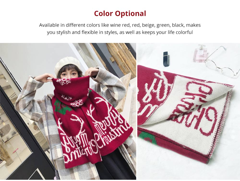 2019 Christmas Scarf for Early Spring, Autumn, Winter, Perfect Christmas Gift Warm Long Christmas Scarf for Children Girls Friends 12