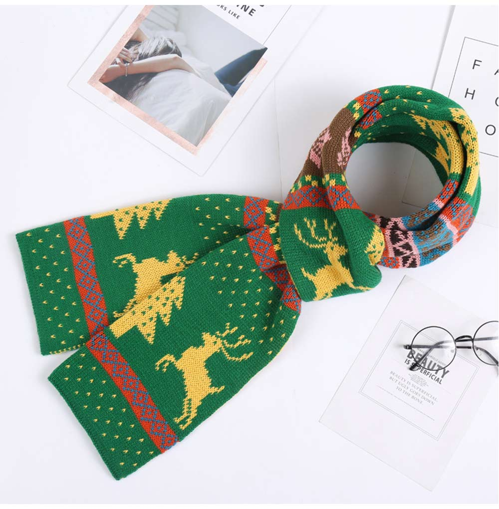 Christmas Scarf for Women Men Teens Children, Warm Knit Christmas Scarves with Elk Pattern, Unique Exquisite Christmas Scarves 15