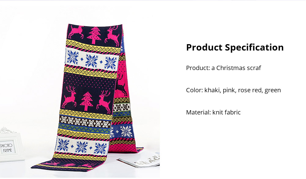 Christmas Scarf for Women Men Teens Children, Warm Knit Christmas Scarves with Elk Pattern, Unique Exquisite Christmas Scarves 18
