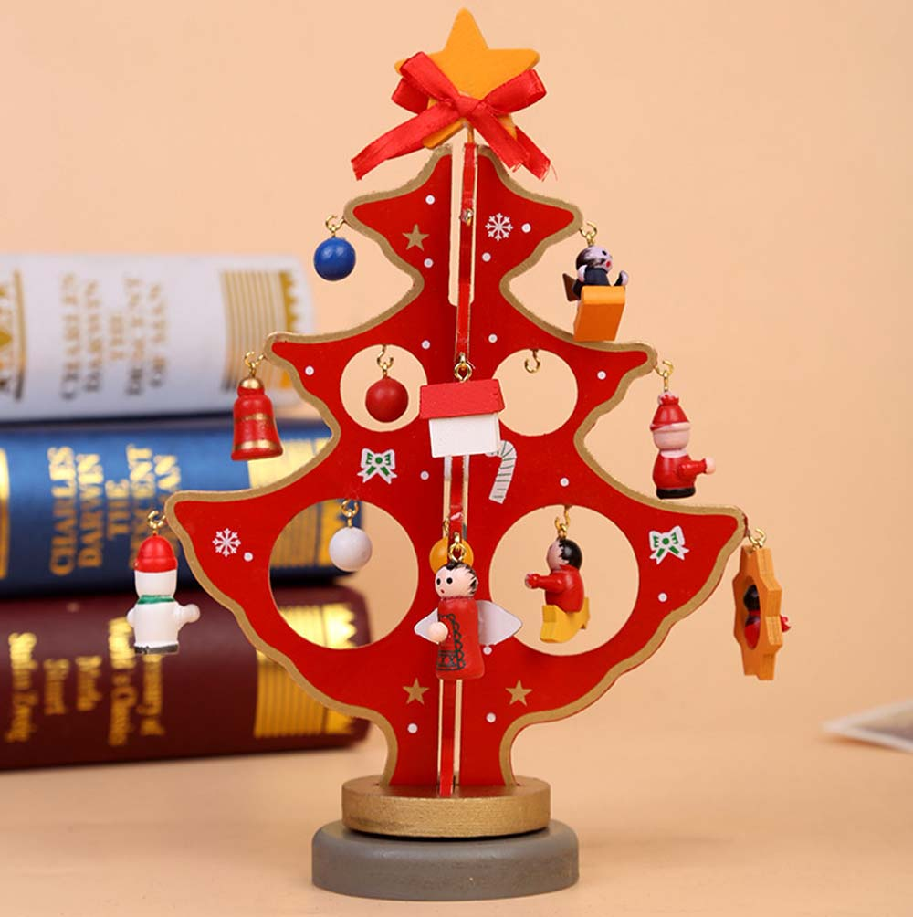 Small Christmas Tree Stand With Storage Box Diy Wood Christmas Tree Ornaments For Hotel Restaurant Office Chain Shore Decoration