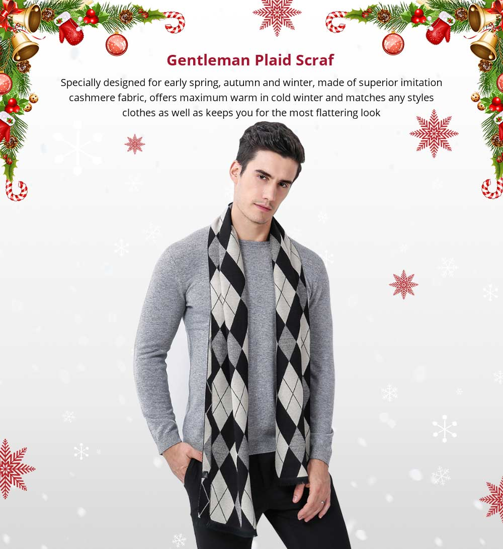 Gentleman Plaid Scarf for Early Spring, Autumn, Winter, Superior Imitation Cashmere Scarf for Men Perfect Gift 7