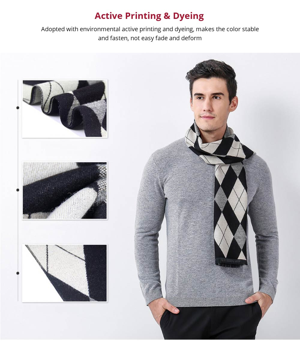 Gentleman Plaid Scarf for Early Spring, Autumn, Winter, Superior Imitation Cashmere Scarf for Men Perfect Gift 10