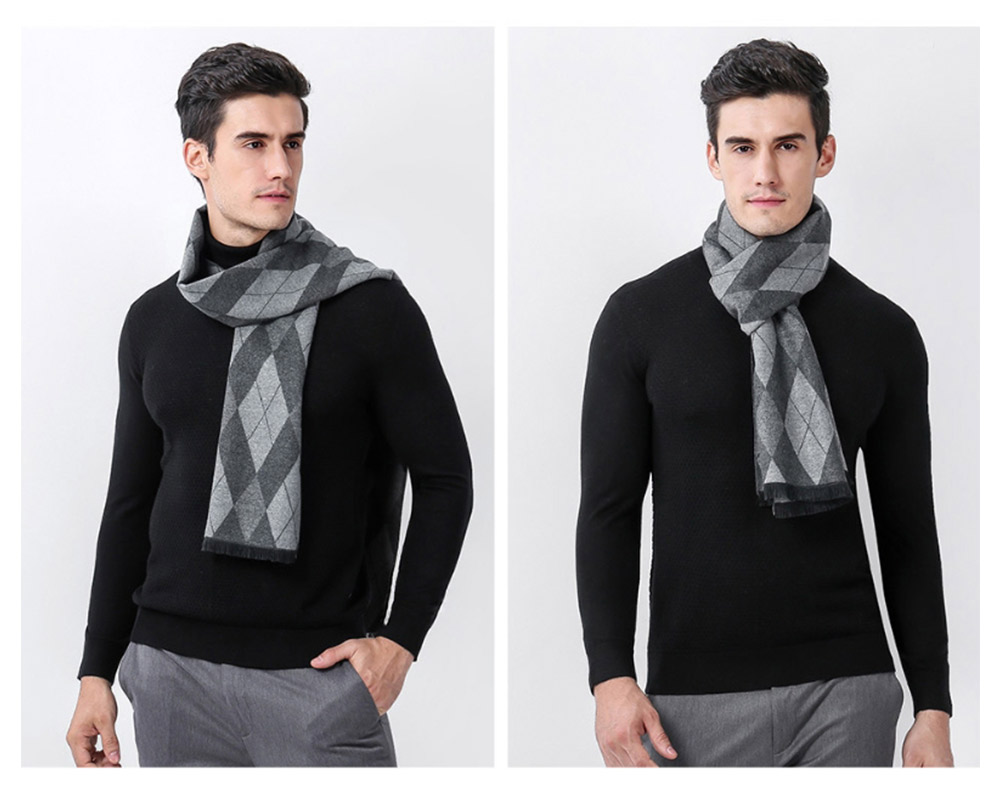 Gentleman Plaid Scarf for Early Spring, Autumn, Winter, Superior Imitation Cashmere Scarf for Men Perfect Gift 13