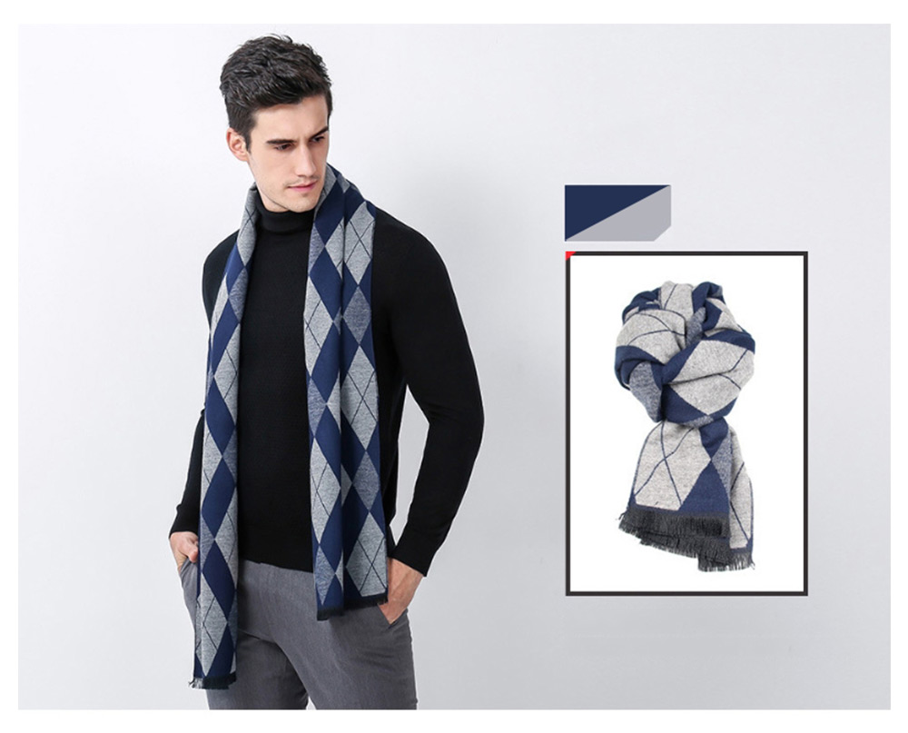 Gentleman Plaid Scarf for Early Spring, Autumn, Winter, Superior Imitation Cashmere Scarf for Men Perfect Gift 14