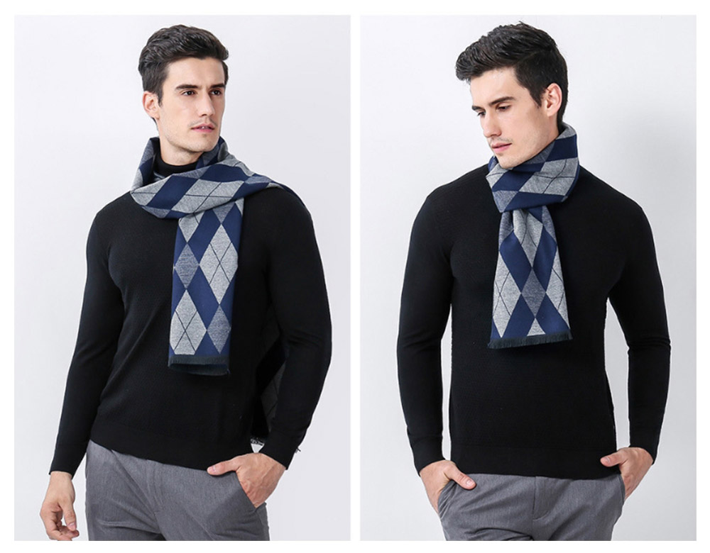 Gentleman Plaid Scarf for Early Spring, Autumn, Winter, Superior Imitation Cashmere Scarf for Men Perfect Gift 15