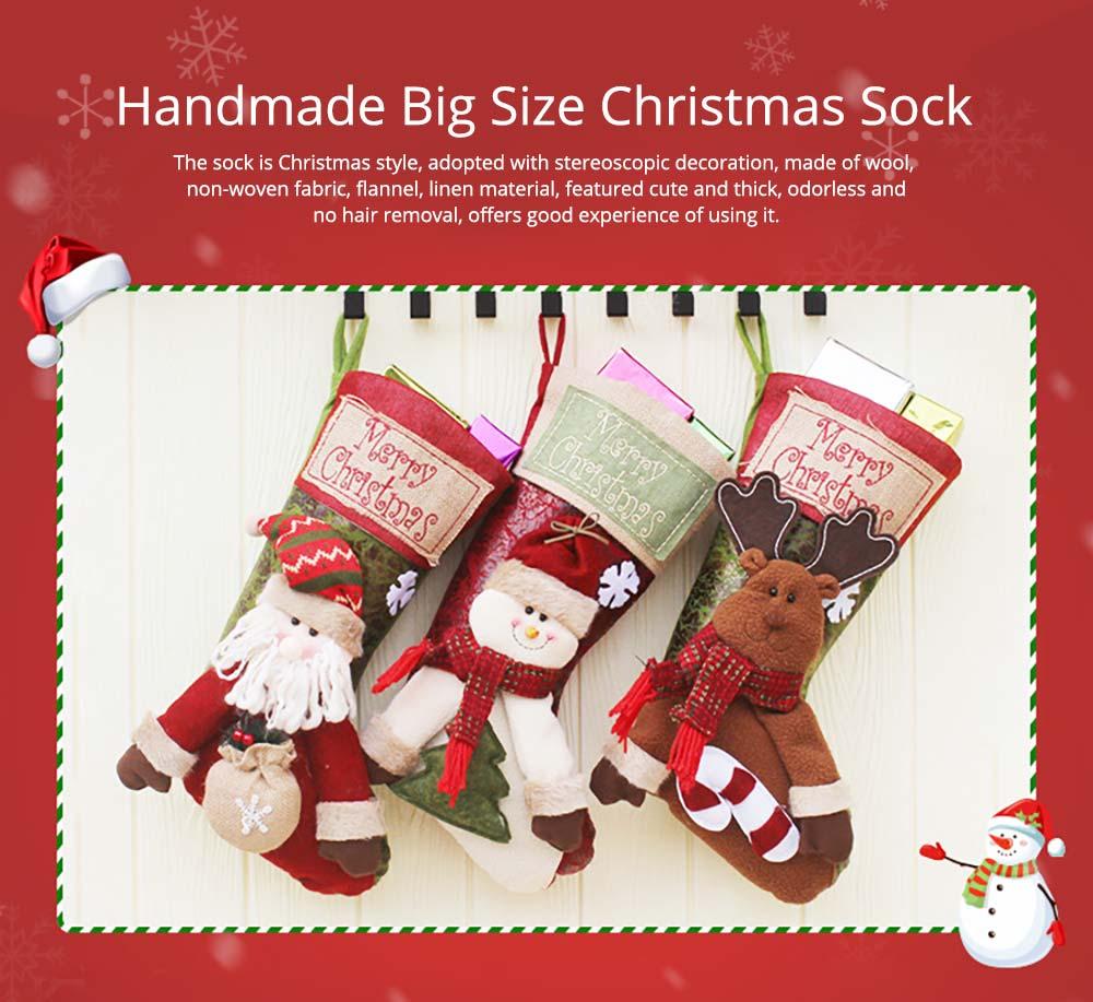 Christmas Stockings - Big Size Hanging Christmas Gift Sock New Arrival Santa Elk Snowman Kids Gift Bag 5
