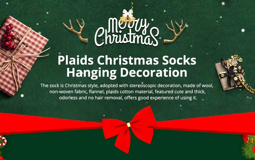 Christmas Decoration Socks Big Size, Gift Sack Plaids Santa Claus Reindeer Snowman Home Hanging Decor Children 7