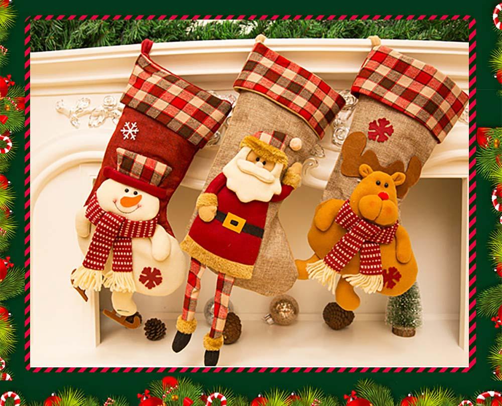 Christmas Decoration Socks Big Size, Gift Sack Plaids Santa Claus Reindeer Snowman Home Hanging Decor Children 8