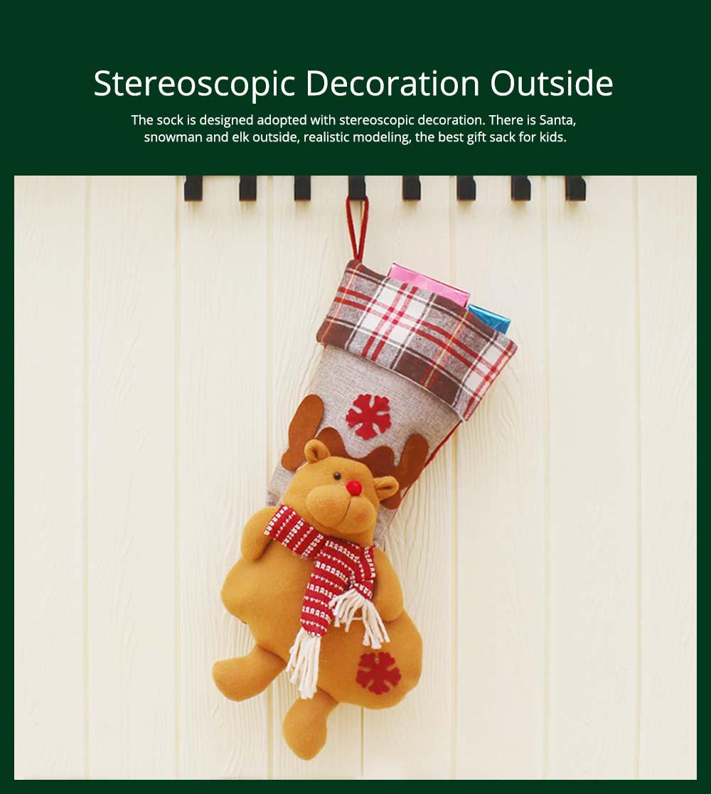 Christmas Decoration Socks Big Size, Gift Sack Plaids Santa Claus Reindeer Snowman Home Hanging Decor Children 9