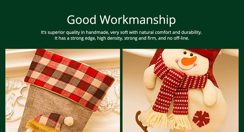 Christmas Decoration Socks Big Size, Gift Sack Plaids Santa Claus Reindeer Snowman Home Hanging Decor Children 10