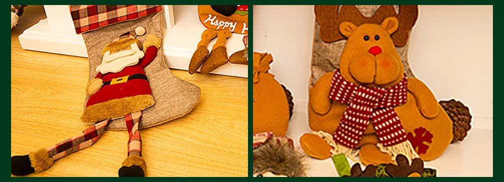Christmas Decoration Socks Big Size, Gift Sack Plaids Santa Claus Reindeer Snowman Home Hanging Decor Children 11