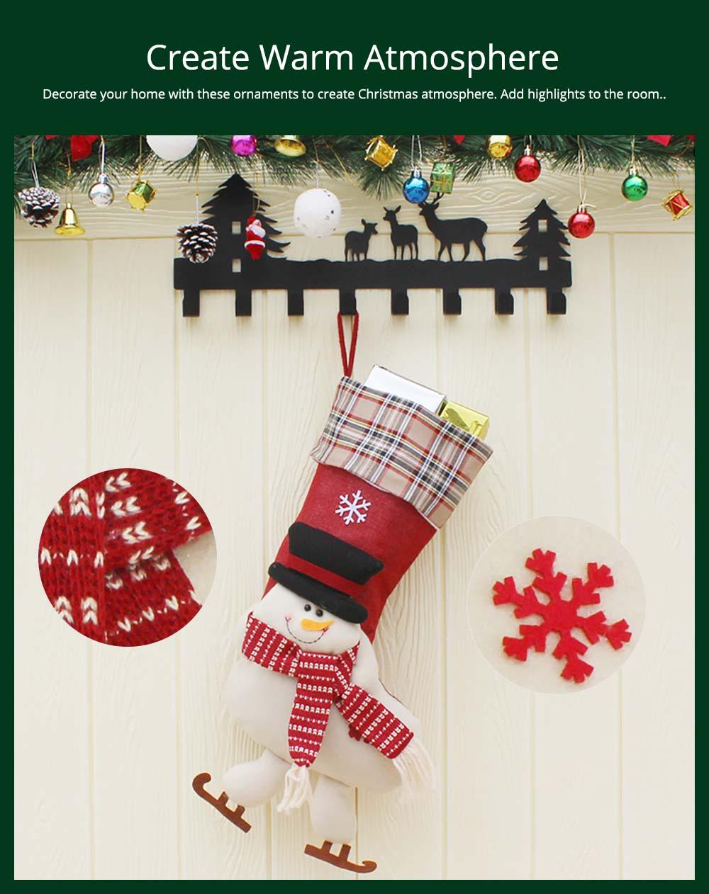 Christmas Decoration Socks Big Size, Gift Sack Plaids Santa Claus Reindeer Snowman Home Hanging Decor Children 15