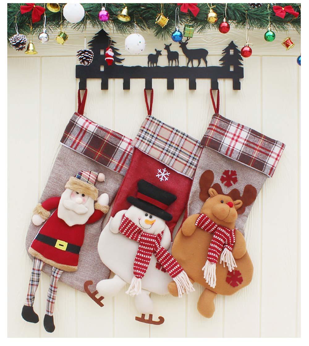 Christmas Decoration Socks Big Size, Gift Sack Plaids Santa Claus Reindeer Snowman Home Hanging Decor Children 17