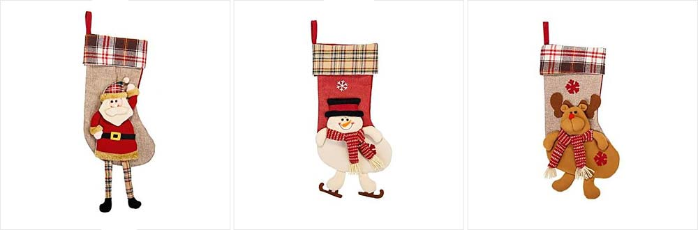 Christmas Decoration Socks Big Size, Gift Sack Plaids Santa Claus Reindeer Snowman Home Hanging Decor Children 18