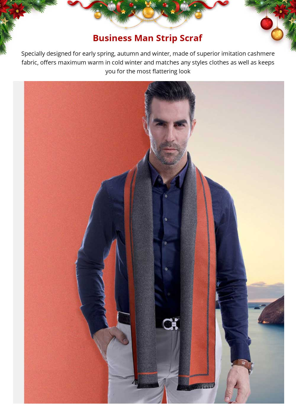 Business Scarf Man Stripe for Business Casual Fashion, Warm Imitation Cashmere Scarves, Contrast Color Gentleman Scarf 7